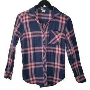 Woolrich Navy Plaid Long Sleeve Flannel